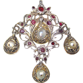 Rare Georgian Pendant Cultured Pearls Rubies