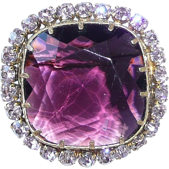 Large Purple Glass Brooch Rhinestones
