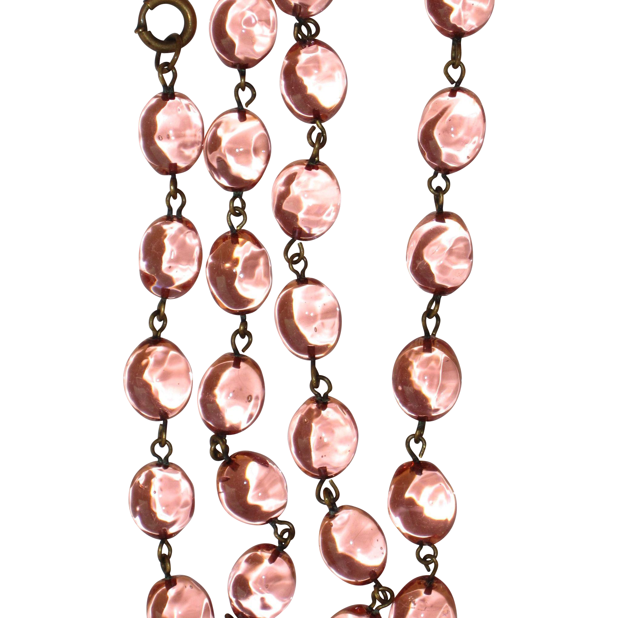 Pools of Light Peach Glass Beads Baroque