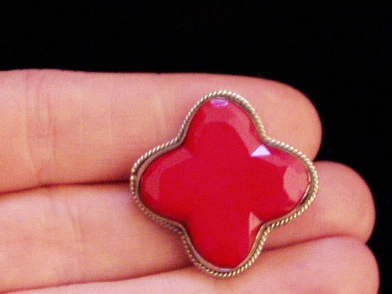 Victorian Red Glass Small Pin