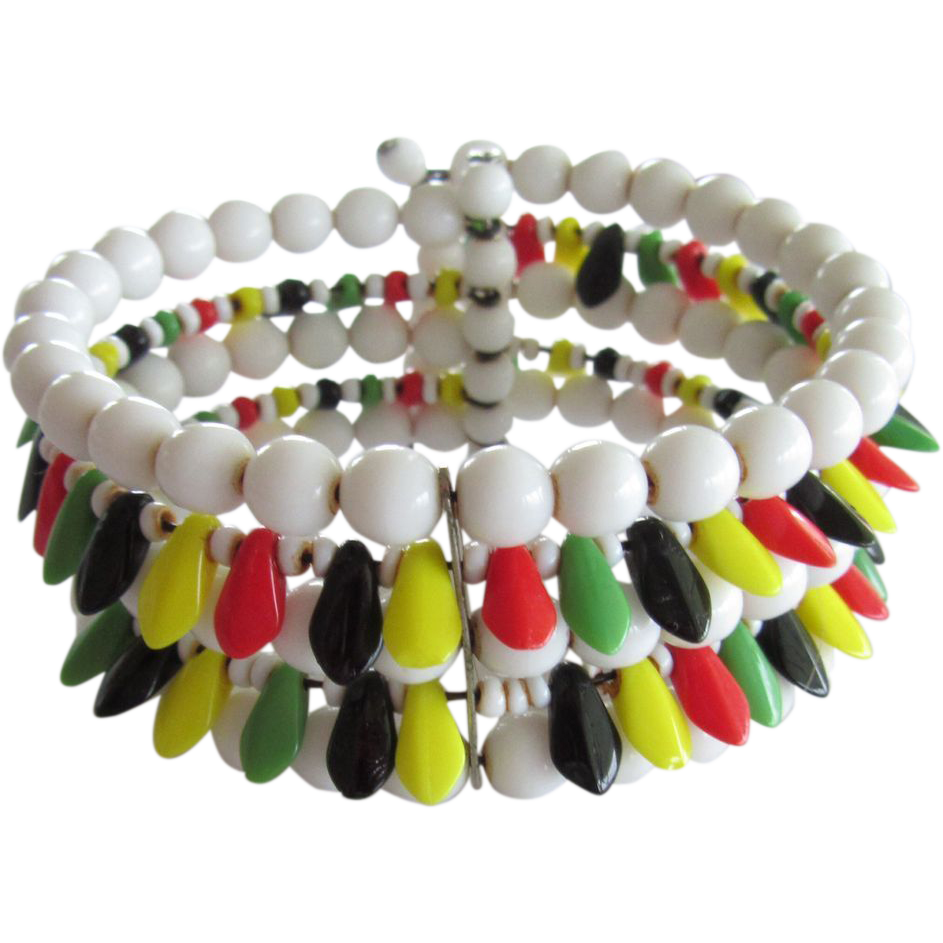 Vintage Colorful Glass Beads Memory Wire Wrap Bracelet