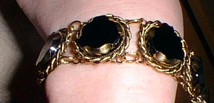 Fancy Black Glass and Gold Costume Bracelet