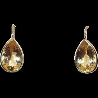 14k Gold Pear Shaped Citrine Drop Earrings