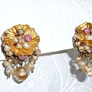 Vintage Wired Beaded Clip Earrings Golden