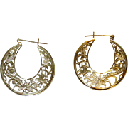 Beautiful Filigree 14K Gold Hoop Earrings