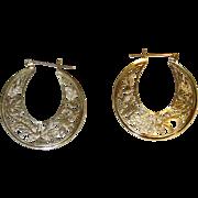 Beautiful Filigree 14K Gold Hoop Earrings