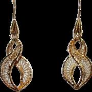 Beautiful Vintage Filigree Spiral 14K Gold Earrings
