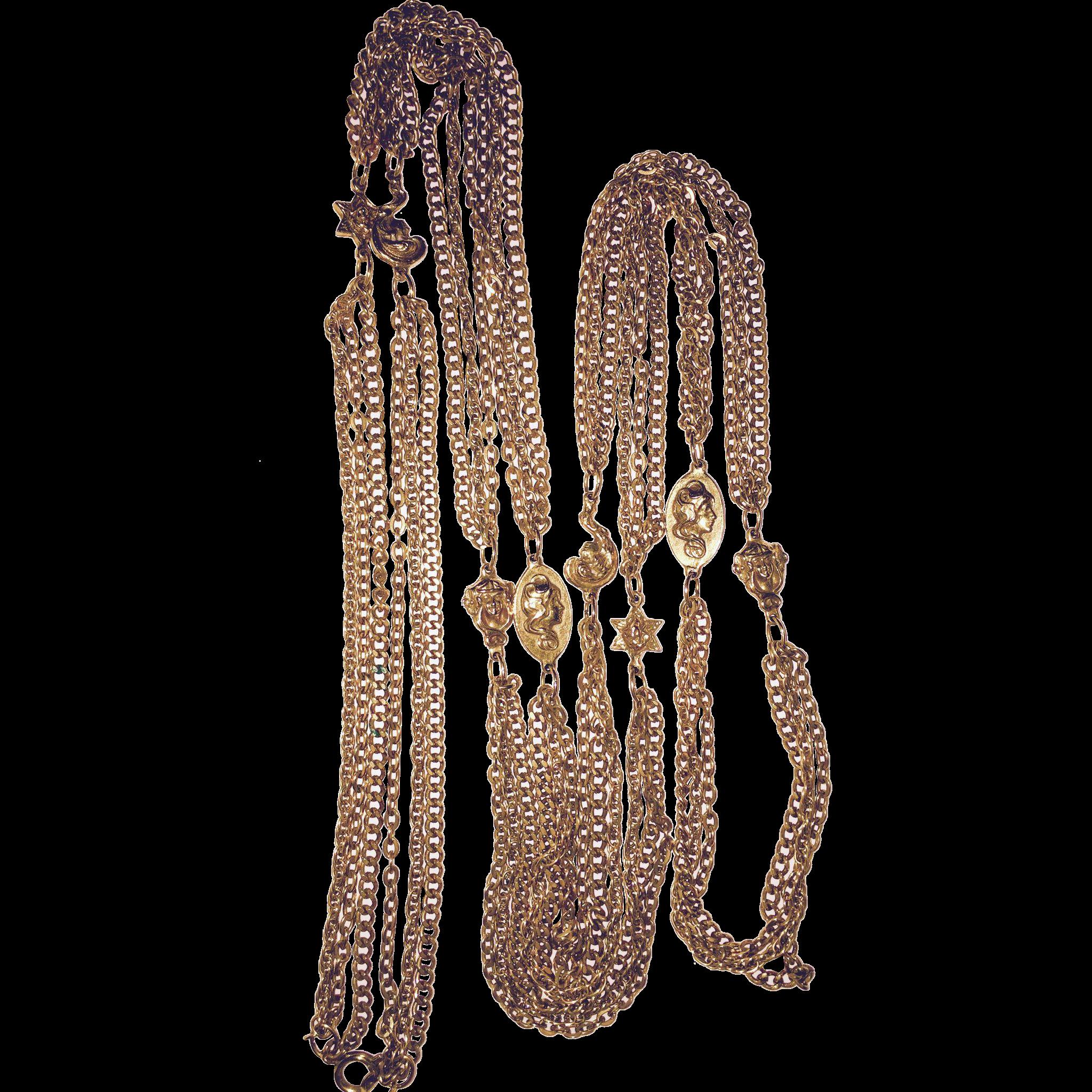 Vintage 1960s Long Necklace Earrings Etruscan Design