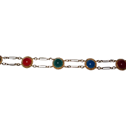 Gold Filled Bracelet Chalcedony, Carnelian and Green Onyx