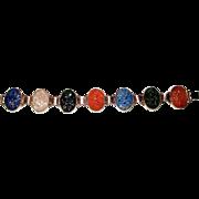 Gold Filled Bracelet Carved Pierced Spinach Jade Lapis Quartz Carnelian