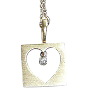 Vintage 14K Gold Heart Pendant with Diamond
