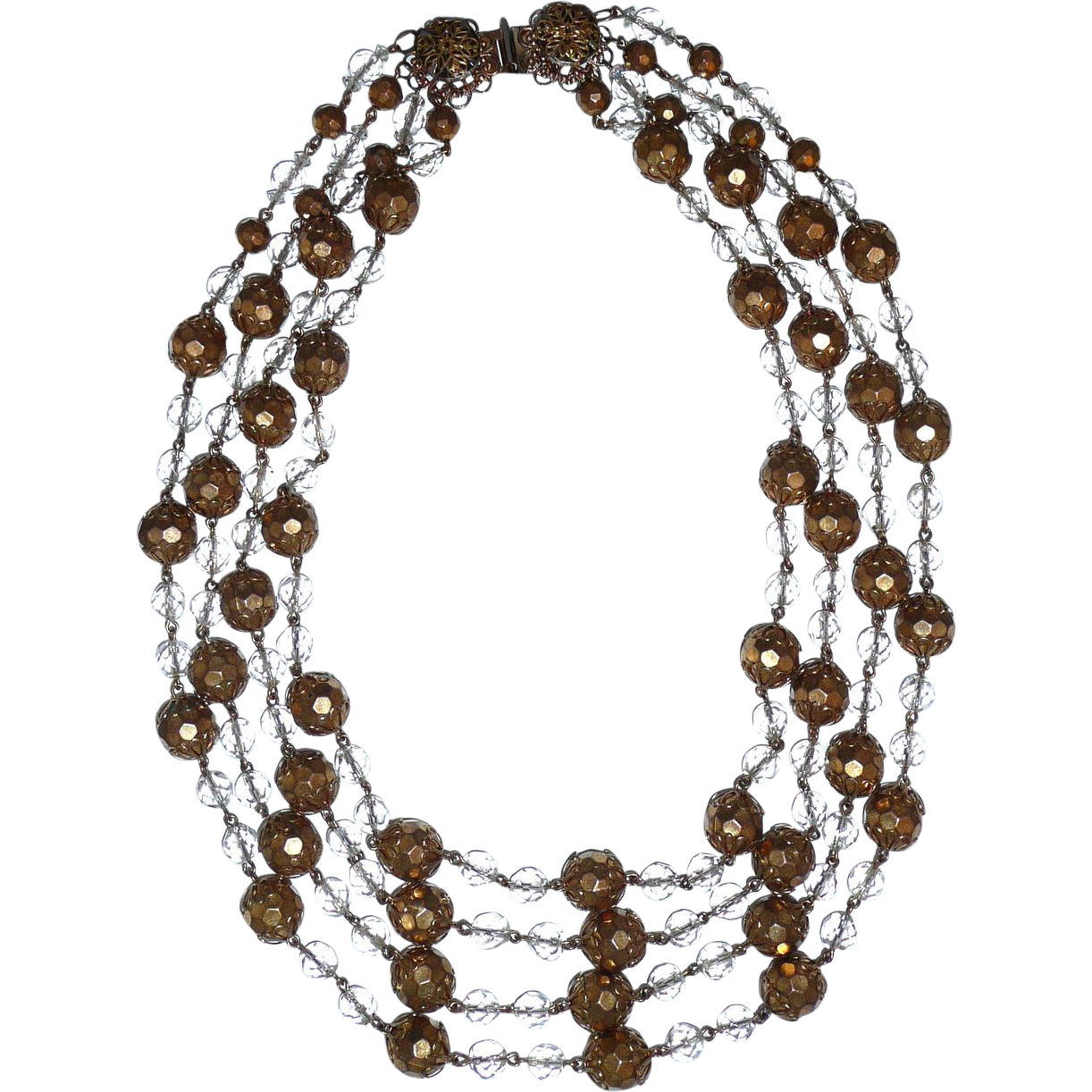 Gorgeous Vintage 4 Strands Gold Beads Necklace Runway