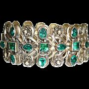 Gorgeous Vintage Green Rhinestone Cuff Bracelet Brass