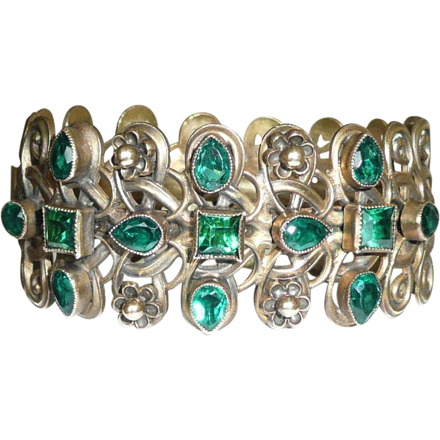 gorgeous vintage green rhinestone cuff bracelet brass from