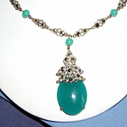 Art Deco Czechoslovakian Peking Glass Necklace