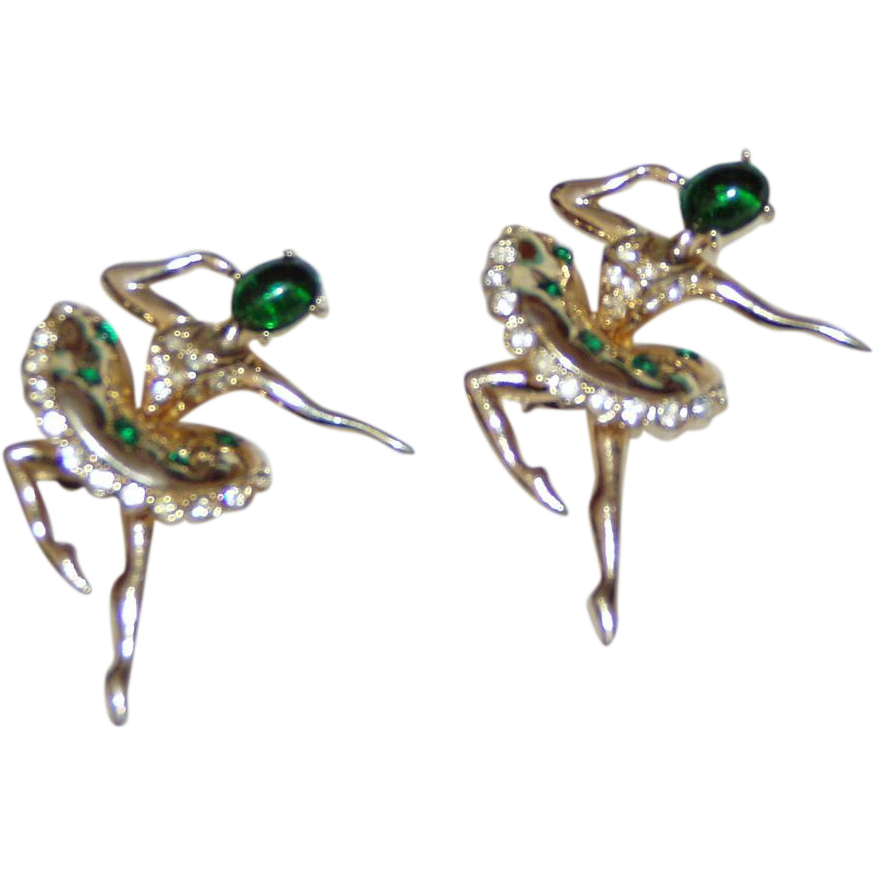 Beautiful Pair Green Glass Rhinestone Ballerina Pins