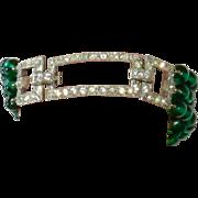 Coro Vintage Green Glass Beads Bracelet Rhinestone Clasp