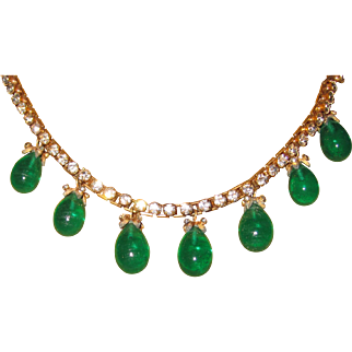 Beautiful Poured Glass Green Drops Rhinestone Necklace