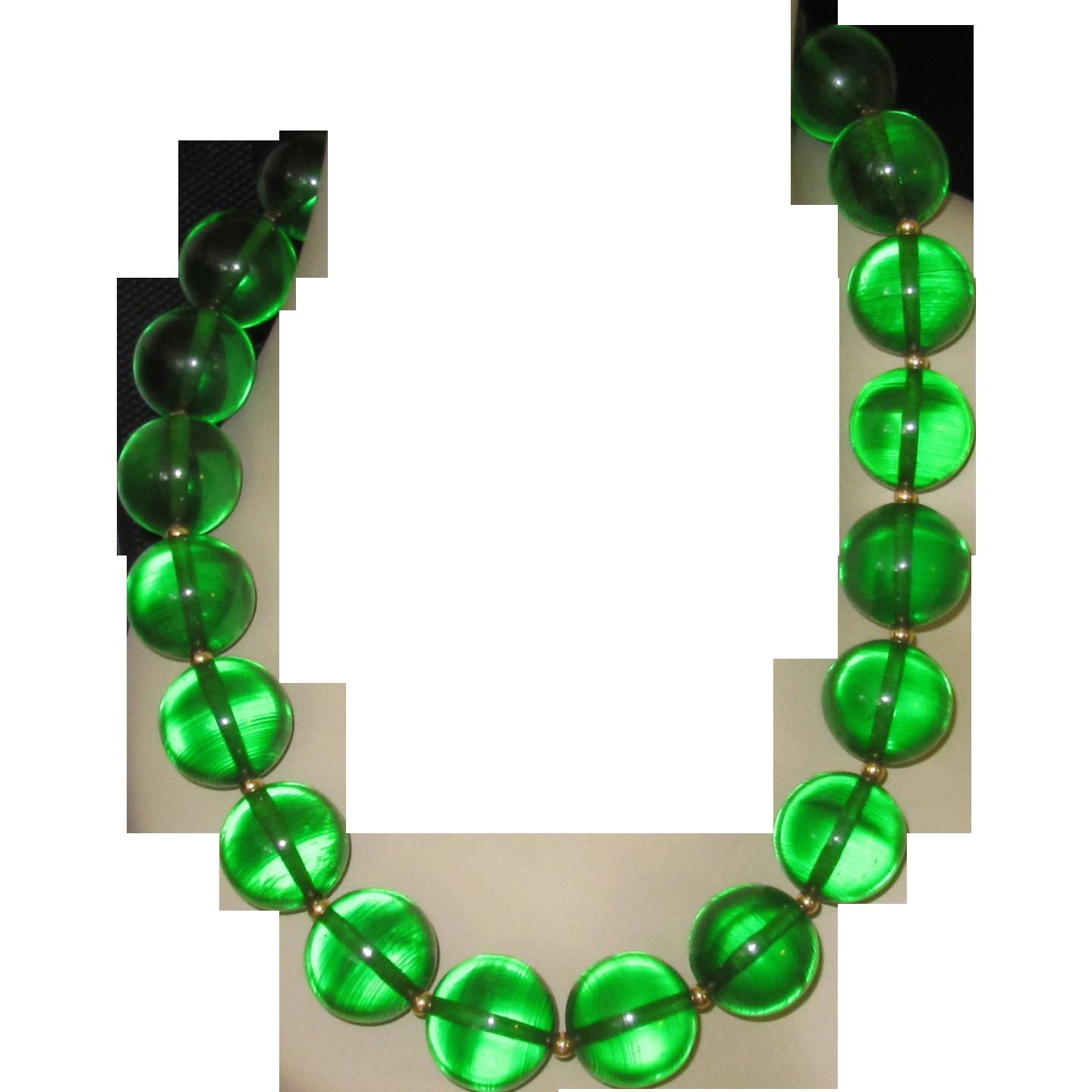 Vintage Huge Prystal Bakelite Beads Necklace