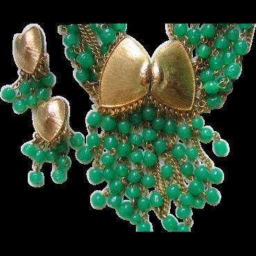 Parure Necklace Brooch Earrings Green Glass