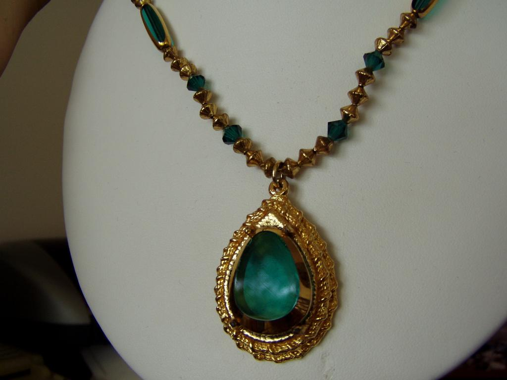Vintage Green Glass Pendant and Earrings