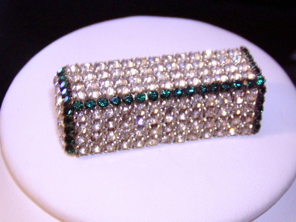 Green and White Modern Rhinestone Brooch