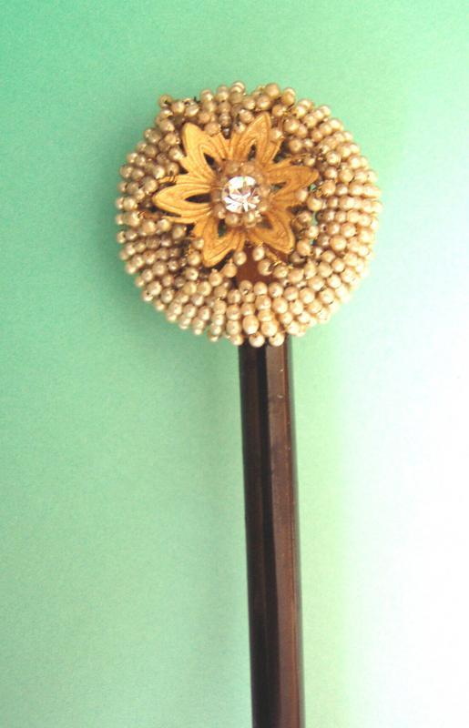 Vintage Fine Beaded Wood Hair Stick