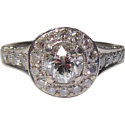 Gorgeous Estate 18K Gold Diamond Halo Ring 1.50 total diamond weight