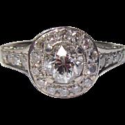 Gorgeous Estate 18K Gold Diamond Halo Ring 1.50 total diamond weight