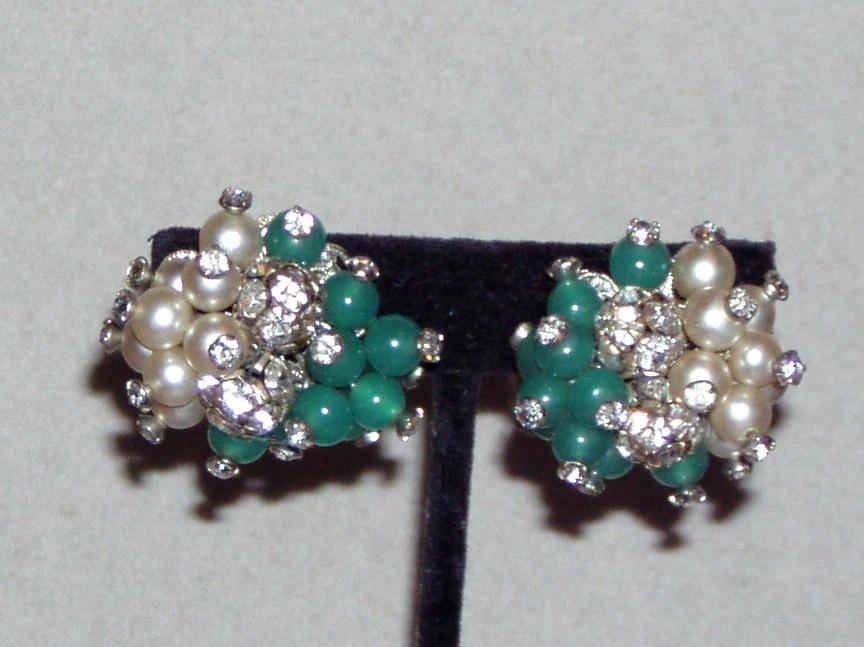 Vintage Glass Bead Green and Faux Pearl Earrings