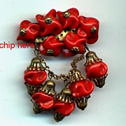 Pretty Glass Beads RED Red Dangle Pin