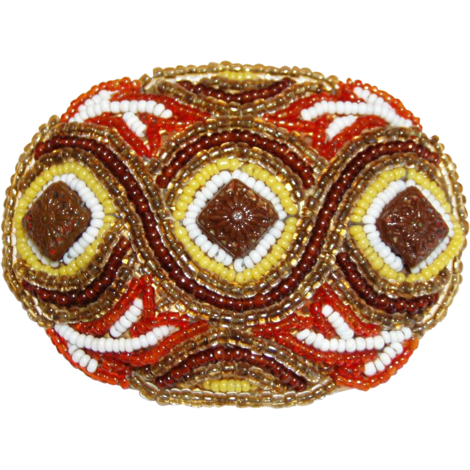 Most Beautiful Early Wired Hand Beaded Pin Mosaic