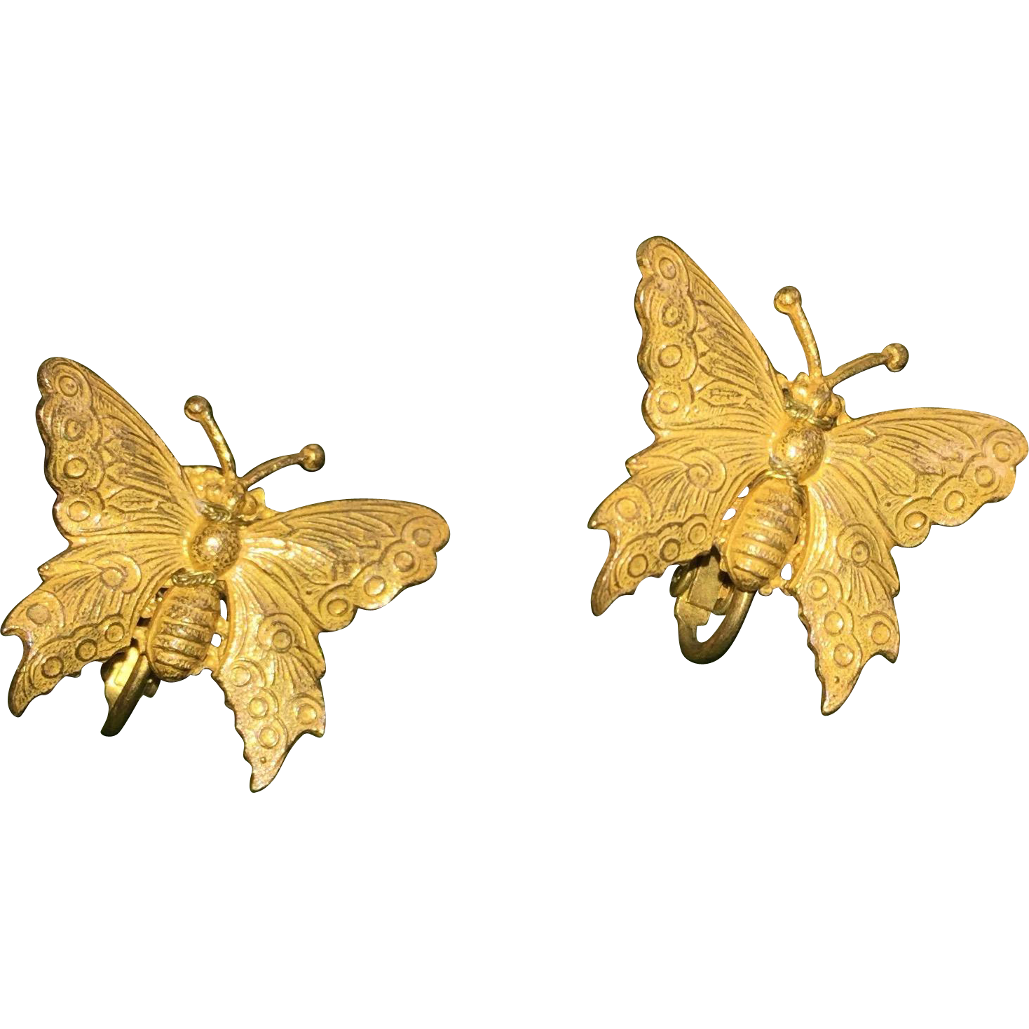 Signed Haskell Butterfly Earrings Clip