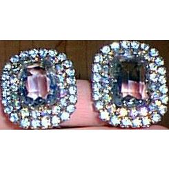 Hattie Carnegie Vintage Large Blue Clip Earrings