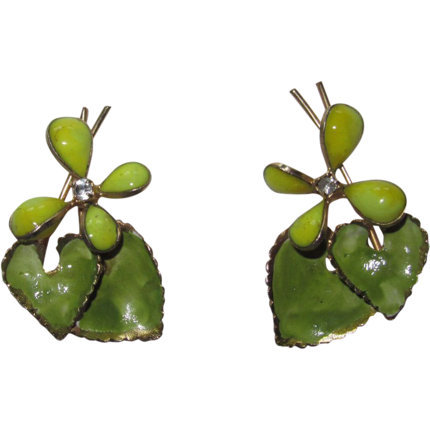 Hattie Carnegie Green Yellow Poured Glass Earrings