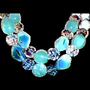 Vintage Glass Moonstone Green Artglass Beads