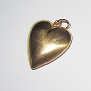 14K Large Puffy Heart Pendant or Charm