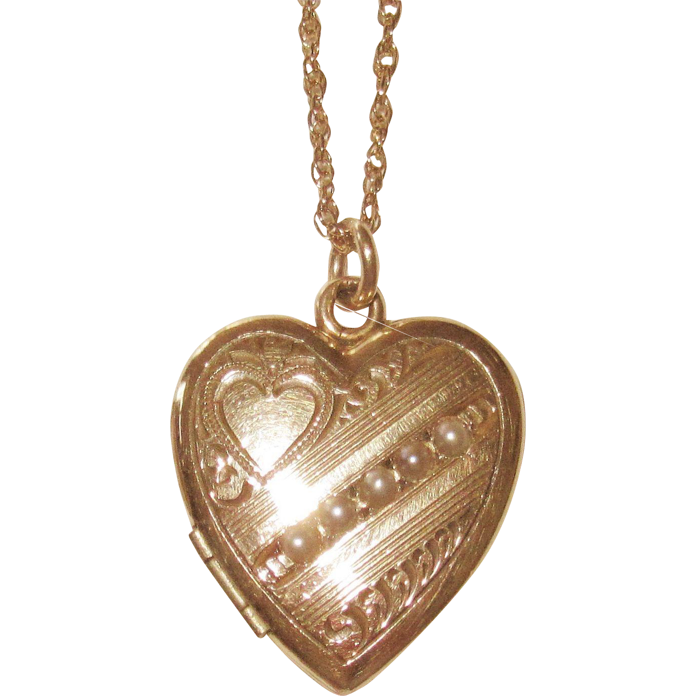 Vintage Gold Filled Heart Shaped Locket Cultured Seed Pearls