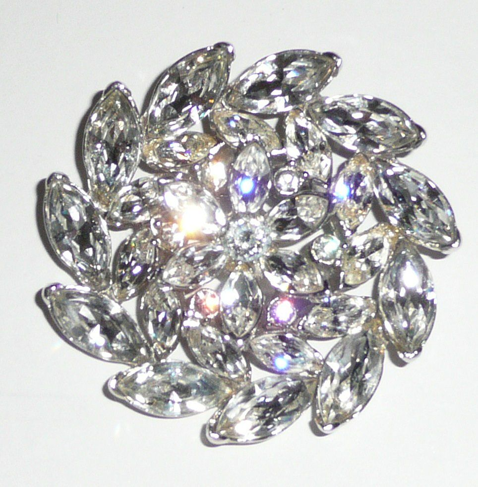 Gorgeous Rhinestone Pinwheel Flower Brooch