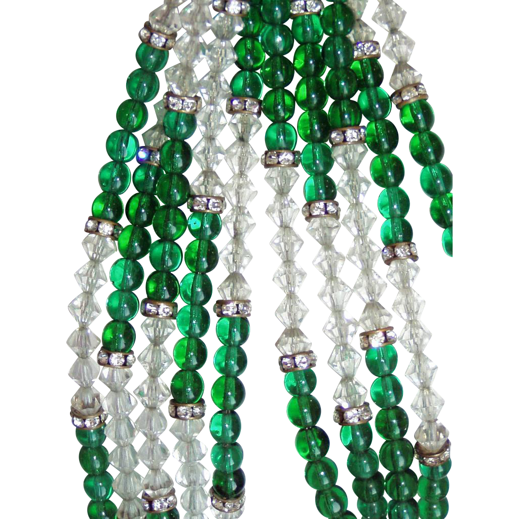 Best Vintage Hobe Green Glass Beads and Earrings