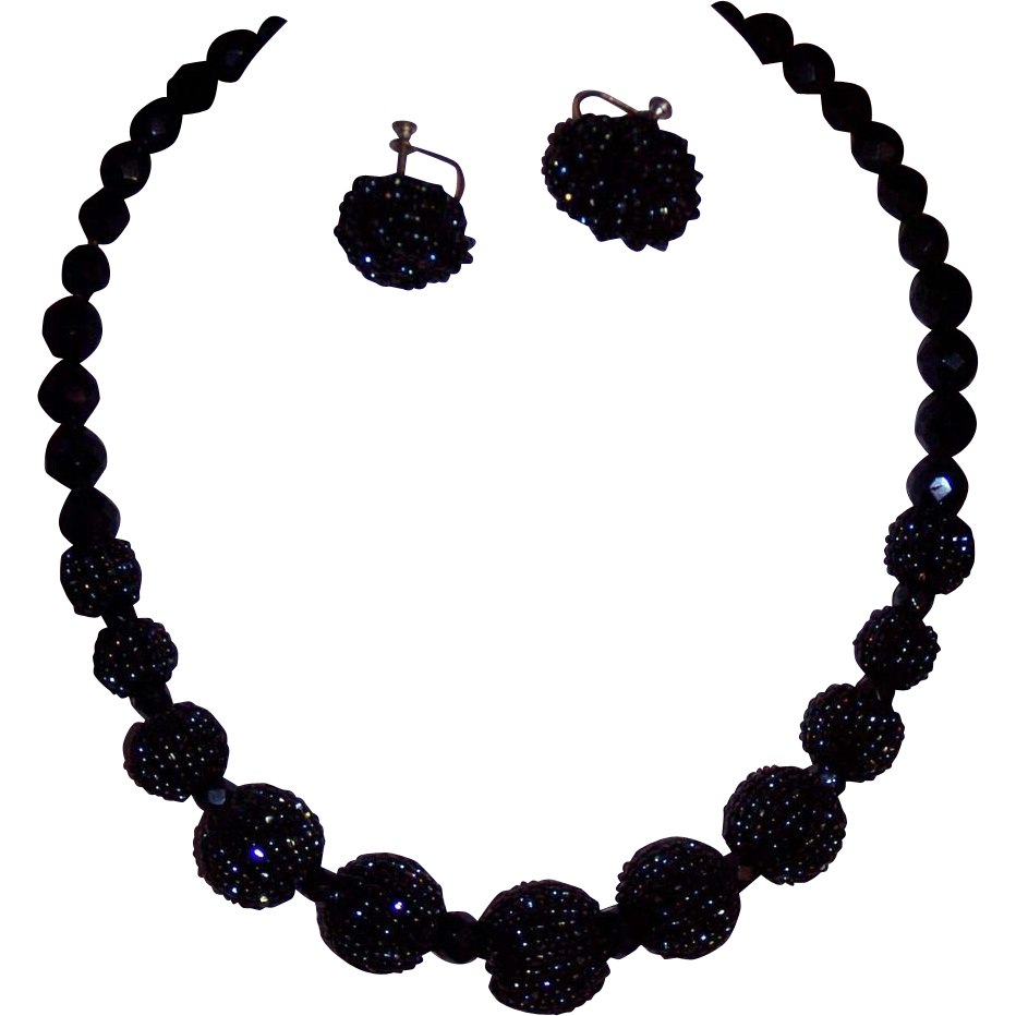 Vintage Incredible Blue Black Beaded Set Choker Earrings