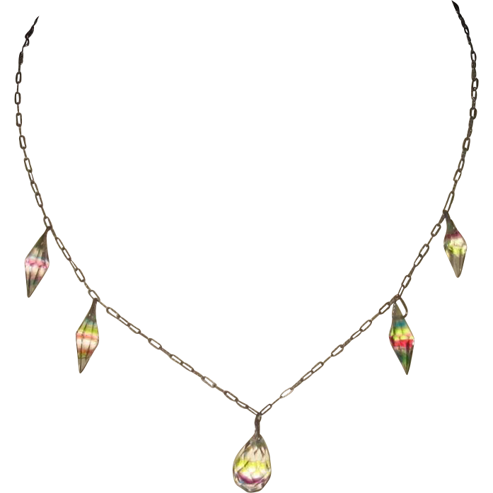 Vintage Rainbow Iris Crystal Necklace