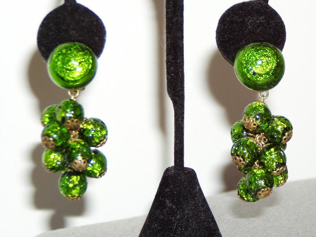Vintage Green Foiled Glass Earrings