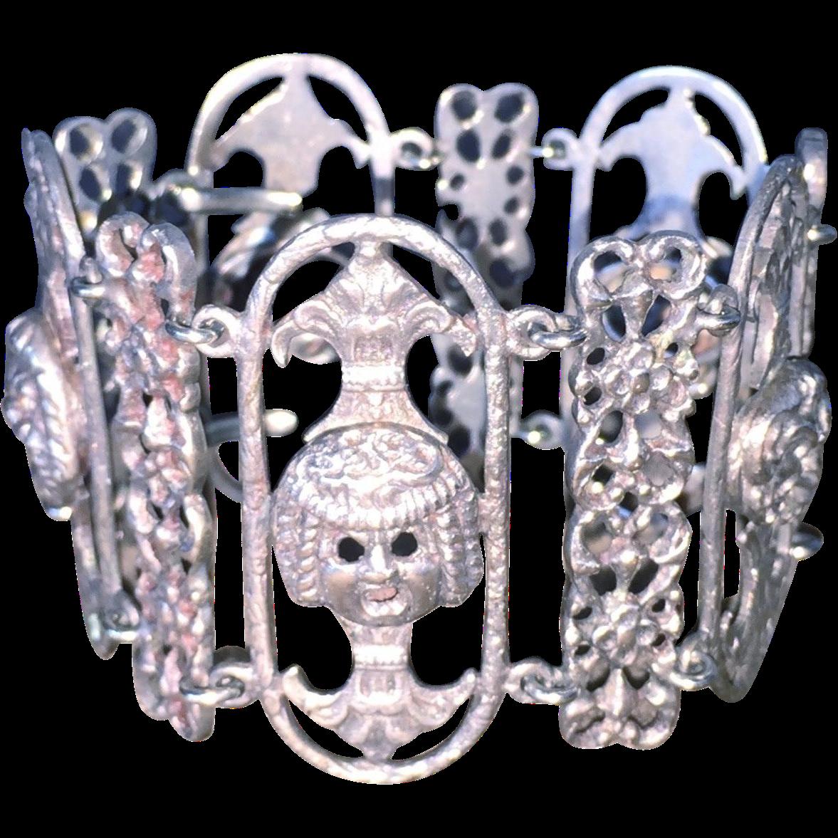 Italy 800 Silver Gargoyle Bracelet Wide