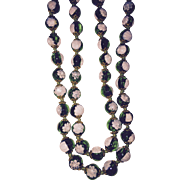 Wonderful Millefiore Green White Glass Beads