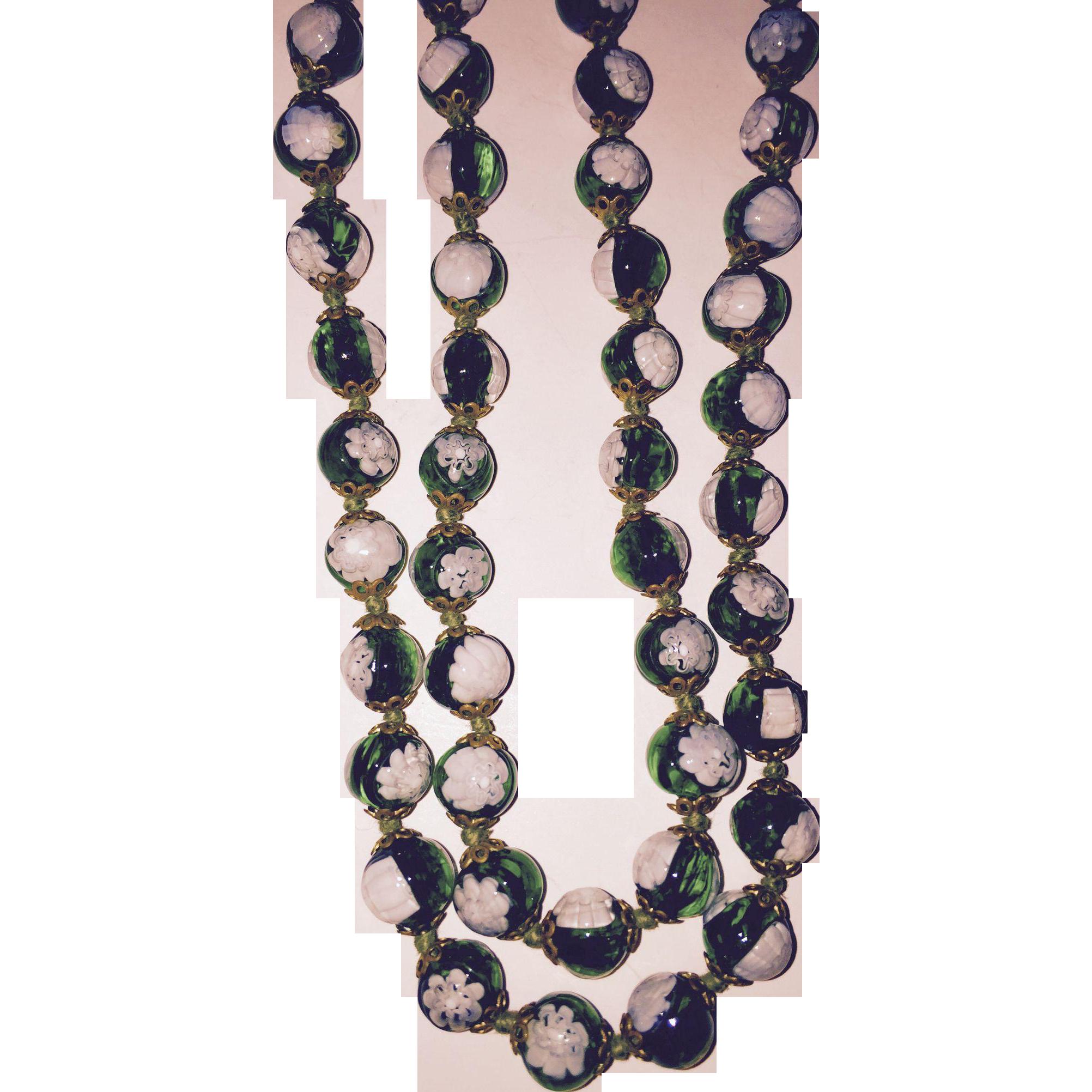 Wonderful Millefiore Green White Glass Beads