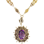 Vintage Italy Souvenir Ornate Amethyst Pendant Fancy Long Chain