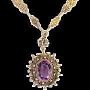 Vintage Italy Souvenir Ornate Amethyst Pendant Fancy Long Chain