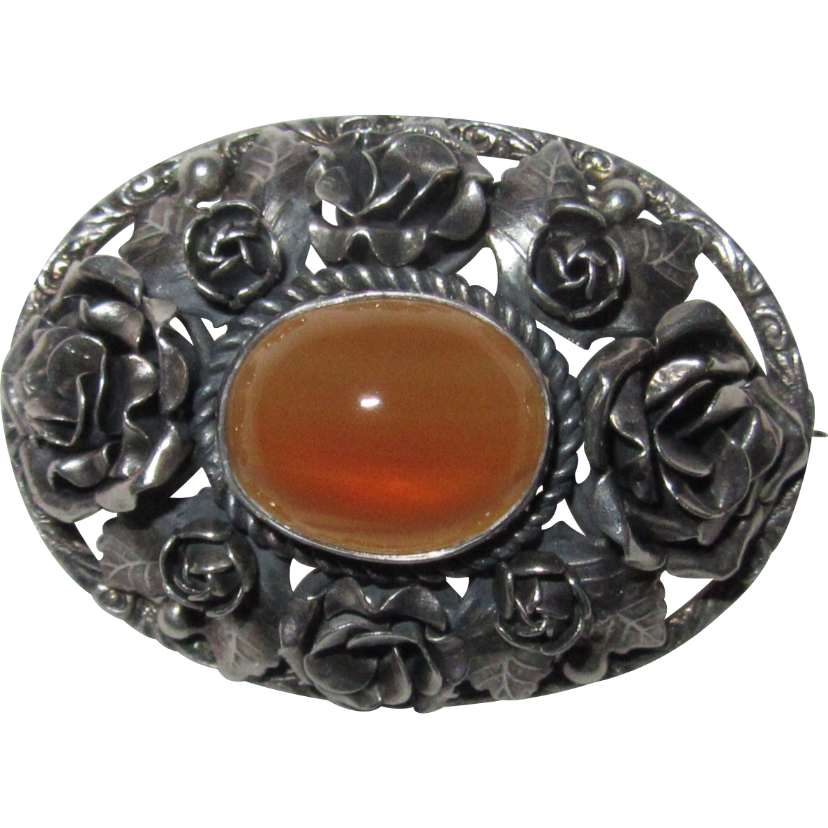 Vintage Italy Silver Cabochon Agate Roses Brooch