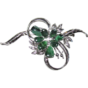 Vintage 14K White Gold Jade Brooch